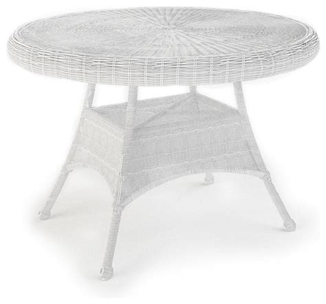 White Wicker Patio Table Rockport 42 In Patio Dining Table White Wicker Traditional Outdoor Tables By