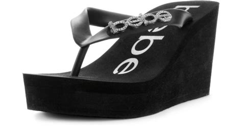 Sandal Wedges Flip Flop Kalp 5cm lyst bebe kristy wedge flip flop sandals in black