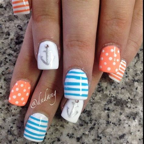 summer acrylic nail designs with anchor 50 cool anchor nail art designs noted list