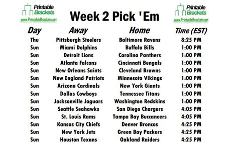 Nfl Week 2 Schedule Printable