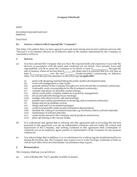 Financial Planning Letter Of Engagement Engagement Letter To Hire Investor Relations Advisor Forms And Business Templates