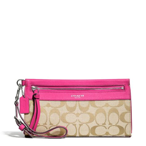 Coach Signature Pink Large lyst coach legacy large wristlet in signature fabric in