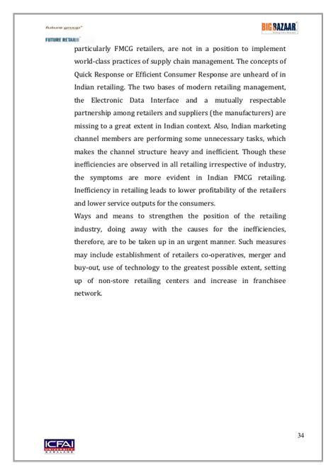 Mba Internship 2017 by Big Bazaar Summer Internship Report Mba 2015 2017