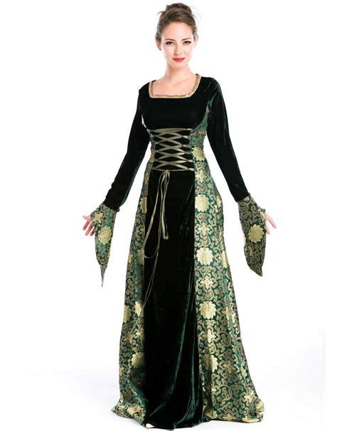 green gold renaissance costume dress gown got uk