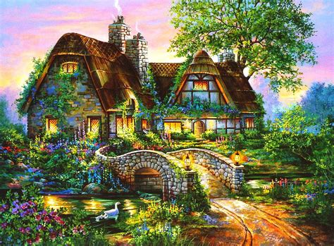 Other Nature other lovely cottage colorful fields light tree