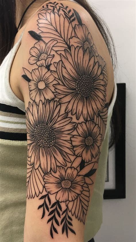 1 4 sleeve tattoo number 4 half sleeve wildflower took about 3 1 2