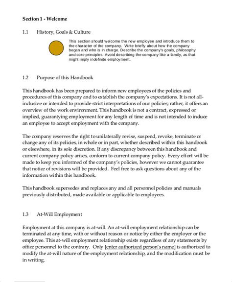 Employee Handbook Template 12 Free Sle Exle Format Free Premium Templates Employee Handbook Template For Small Business