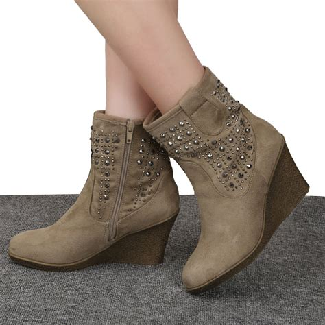 aliexpress buy fashion rivets wedge winter ankle
