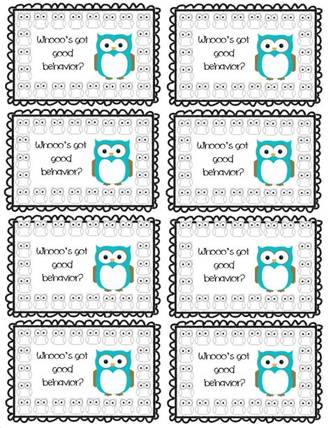 punch card template student whooo s got behavior punch card part of a set of 8