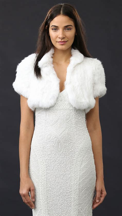 Dear Fashion Mafia Black Sweater Fur Sleeves by Lyst Jocelyn Fur Knitted Shrug In White