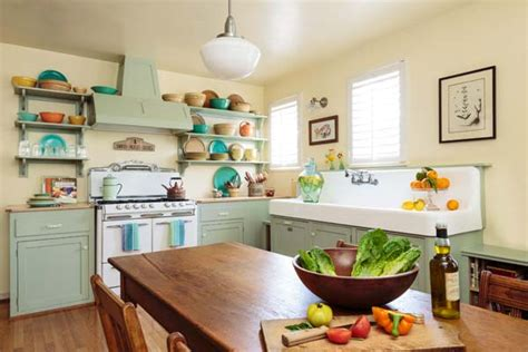 retro style kitchen cabinets cottage kitchen with retro flair