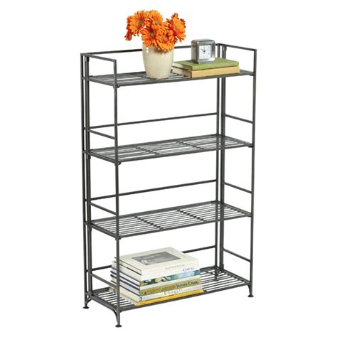 4 shelf iron folding bookcase the container store
