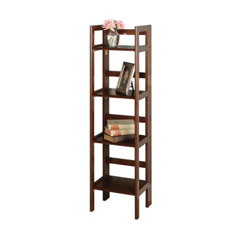 folding shelves winsome wood 4 tier folding shelf walnut finish 94852