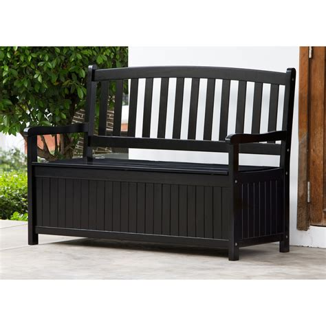 storage bench for outside coral coast pleasant bay 4 ft curved back outdoor wood storage bench black at hayneedle