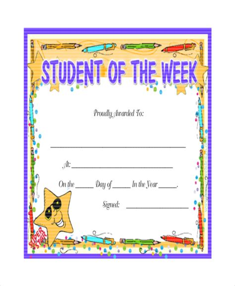student of the week template 24 sle printable certificate templates free sle