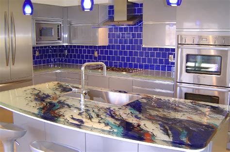 blue countertop kitchen ideas glass tops for cool and kitchen designs from