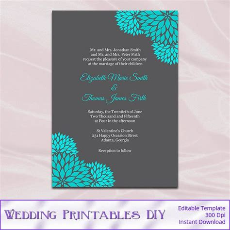 text templates for wedding invitations teal and gray wedding invitation template diy printable