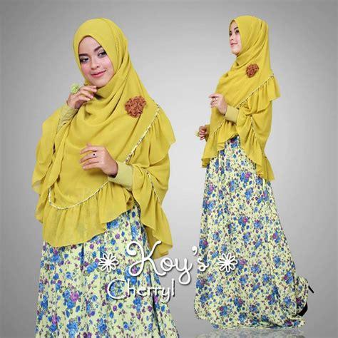 Dahlia Syari Black cherryl yellow baju muslim gamis modern