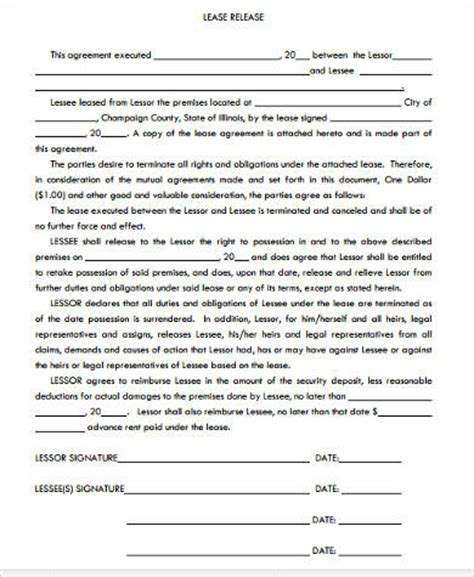 Release From Lease Agreement Letter Sle Lease Contract Forms 10 Free Documents In Word Pdf