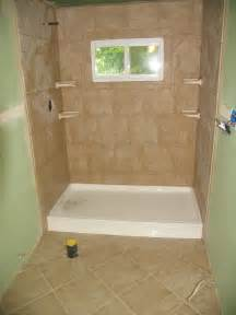 stand up shower and floor tile lake house