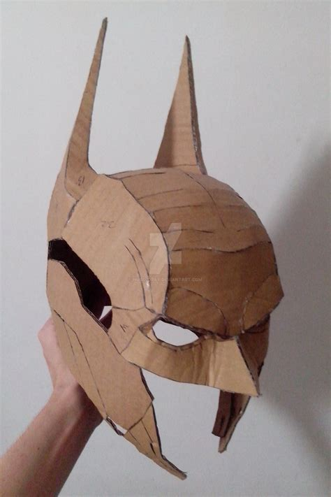 Papercraft Helmet Template - arkham papercraft helmet by hugo drax on deviantart