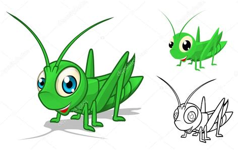detailed grasshopper cartoon character with flat design