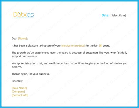 Customer Loyalty Letter Customer Loyalty Thank You Letter Sle Docoments Ojazlink