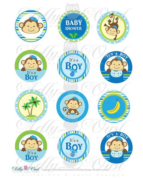 printable baby tags it s a boy monkeys cupcake toppers or favor tags