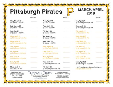 printable  pittsburgh pirates schedule