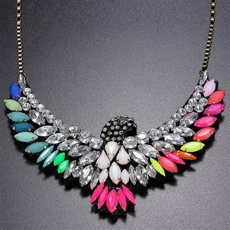 vintage colorful rhinestone eagle bib statement chain