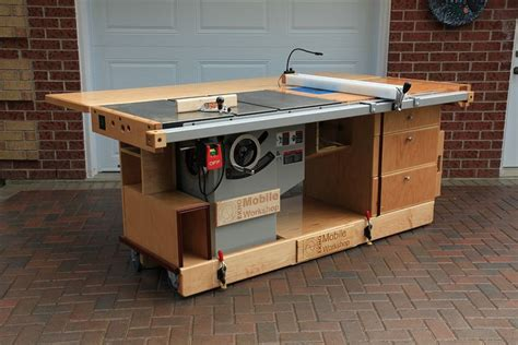 table saw work bench ekho mobile workshop front view showing cabinet saw router table folding outfeed