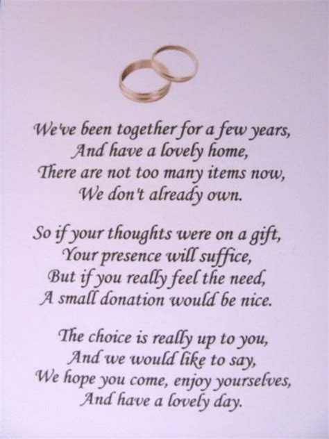 wedding invitation poems for money gifts wedding invitation wording wedding invitation wording no gifts just money