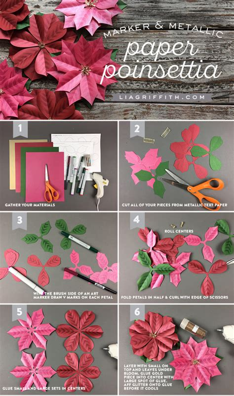 paper poinsettia flowers pattern metallic paper poinsettia gift topper lia griffith