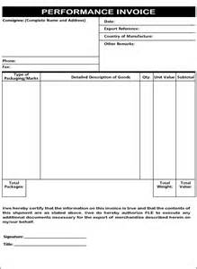 performance invoice template invoice performance more information