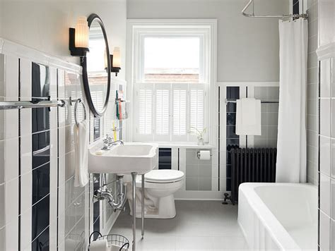 a hint of retro in the bathroom with white black and gray