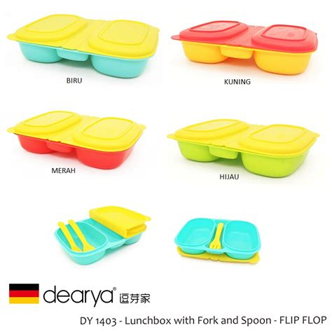 dearya flip flop dy1403 lunch box with fork spoon asibayi