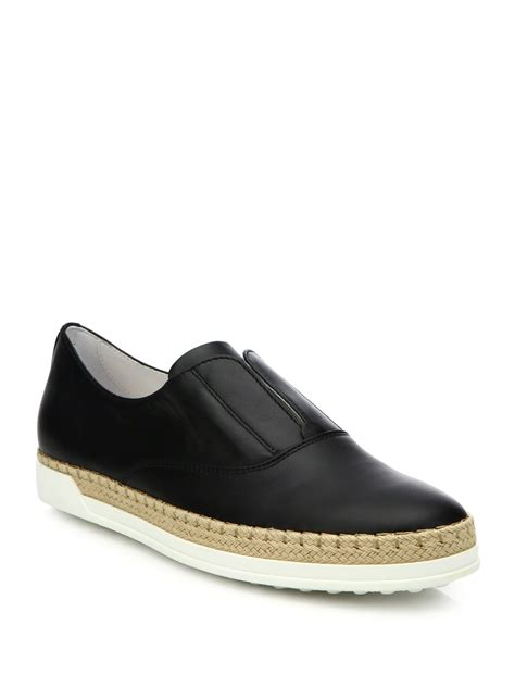 s laceless sneakers tod s laceless leather espadrille sneakers in black for