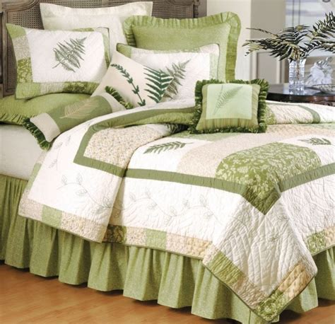 fern valley full queen quilt set green forest ferns