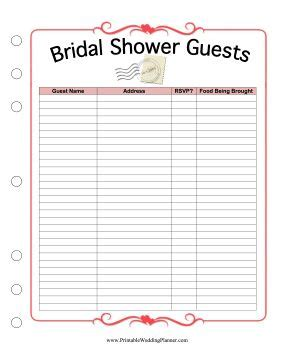 bridal shower guest list template this printable bridal shower guest list provides spaces