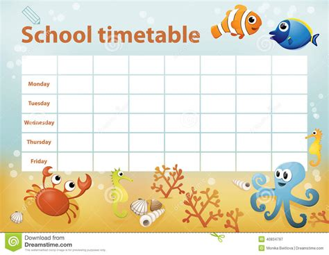 Bonia Set 1398 school timetable with sea animals in background