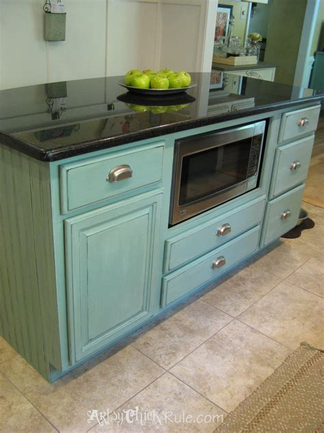 kitchen island makeover duck egg blue chalk paint artsy rule 174