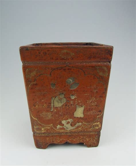 wooden pattern holder chinese antique lacquer wooden brush holder with pattern