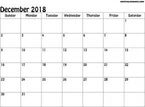 December 2018 Printable Calendar Blank Printable December 2018 Calendar