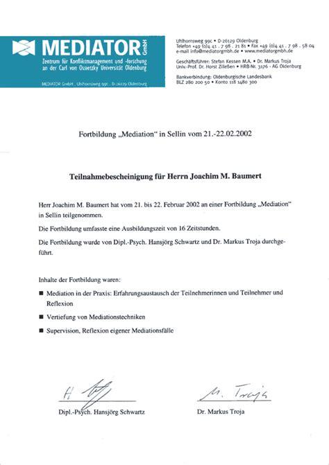 Lebenslauf Englisch Zertifikat Joachim M Baumert Wirtschaftsmediator Gt Mediation Als L 246 Sung