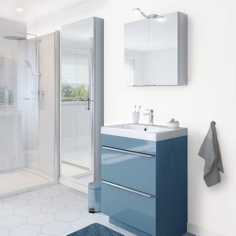 meuble sous vasque  poser bleu long   haut  cm cooke  lewis salle de bains