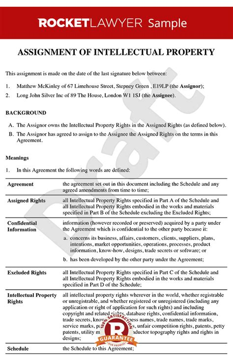 property transfer agreement template assignment of intellectual property template assign