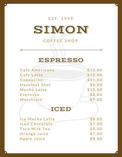white cafe menu customize 158 cafe menu templates canva
