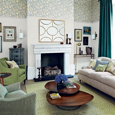Neutral Green Living Room by Neutral And Green Patterned Living Room Living Room