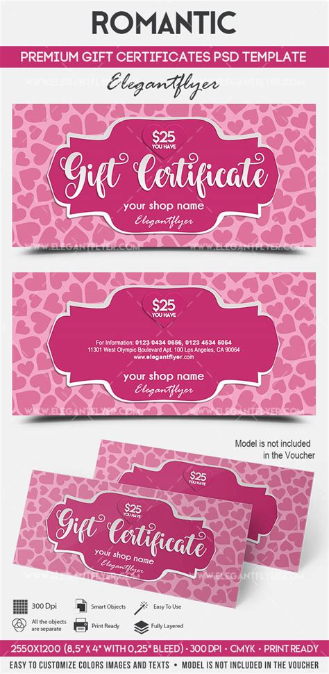 romantic premium gift certificate psd template by