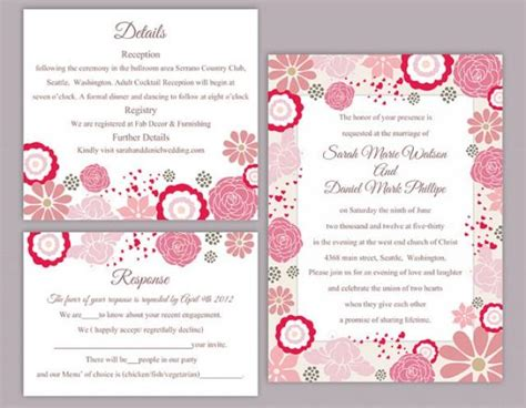 Diy Wedding Invitation Template Set Editable Word File Instant Download Pink Wedding Invitation Editable Wedding Invitation Templates Free